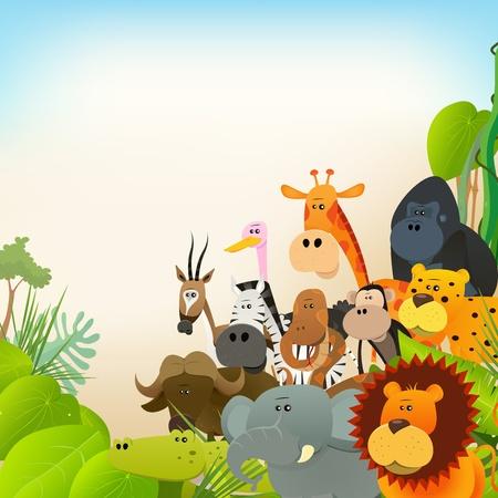 animales de la selva: Ilustración de varios animales lindos de la historieta salvajes de la sabana africana, entre ellos leones, gorilas, elefantes, jirafas, gacelas, monos y cebras con el fondo de la selva