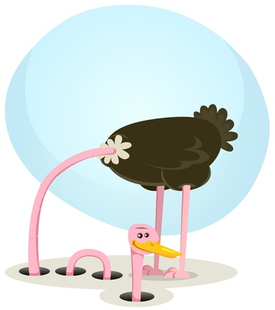 Illustration of a funny cartoon ostrich bird character burying neck and head into the ground and rising little further smiling and happy, symbolizing trust, healing and health recovery Illustration