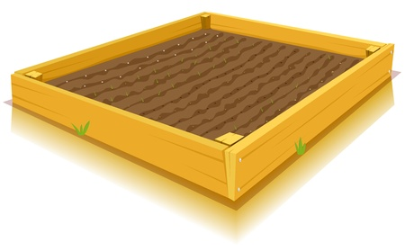 plot: Illustration of a cartoon square kitchen garden made of wood frame and nails, with young seeds or leaves of flowers and vegetables Illustration