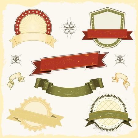tu puedes: Ilustraci�n de una colecci�n de banners grunge dise�o vintage, etiquetas, Stamper sello y premios escudos. Todos los elementos est�n en capas separadas para que pueda seleccionar y editar f�cilmente Vectores