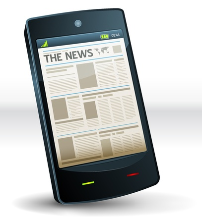 publication: Illustration of a newspaper publication screen on a mobile pocket smart phone computer device. Imaginary model not made from any existing brand or copyrighted model Illustration