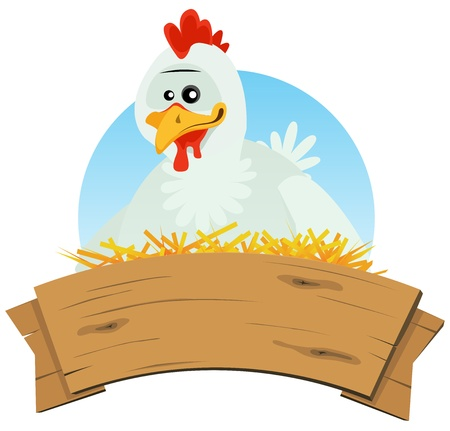chicken coop: Illustration of a cute cartoon chicken hen character nest setting farm eggs with wood blank empty banner for rural restaurant, agriculture or easter holidays background