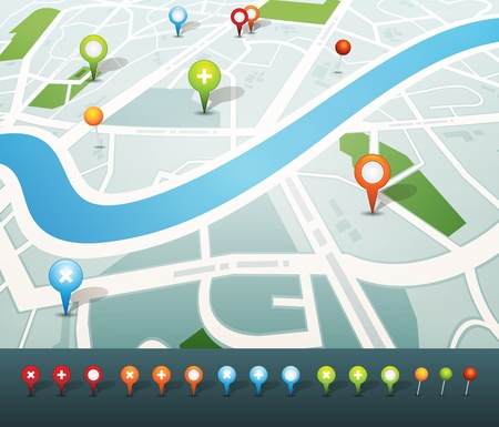 Illustration of a symbolized city map with roads, street, district blocks and places, with gps icons Vector