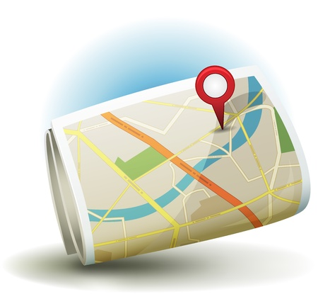 Illustration of a cartoon city map icon printed on scrolled paper with yellow and white roads, street, district blocks and places, with red gps icon