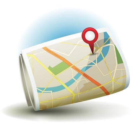 Ilustración de un mapa de la ciudad icono de la historieta impresa en papel enrollado con calles blancas y amarillas, de la calle, bloques de distrito y locales, con el icono rojo gps