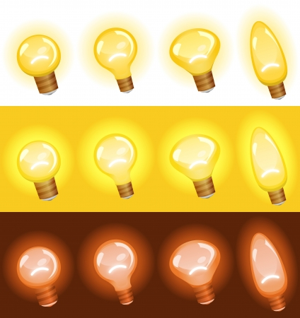 cartoon light bulb: Illustration of a set of cartoon light bulb, isolated on white, in yellow for concept, ideas and success in arts or business, and red for danger, warning sign and security symbols