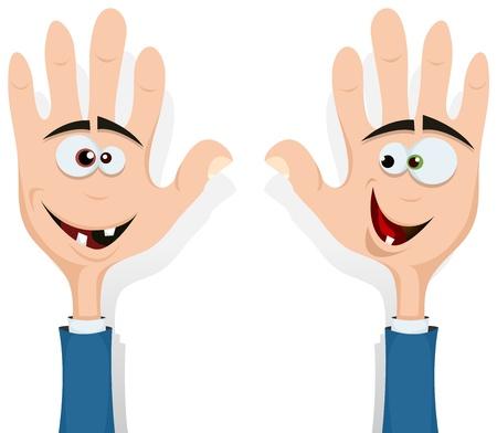 Illustratie van cartoon gelukkige grappige links en rechts handen personages met menselijke hoofden binnen lacht en kijkt naar elkaar, voor entertainment en kinderen Vector Illustratie