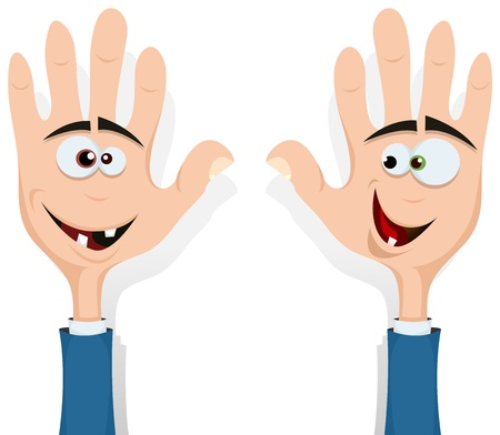 fellowship: Illustration of cartoon happy funny right and left hands characters with human heads inside smiling and looking at each other, for entertainment and children Illustration