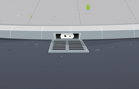 hideout: Illustration of a cartoon urban scene with road, pavement and funny underground eyes looking from a gutter hole hideout Illustration