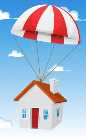 fallschirm: Illustration einer Karikatur kleines Haus Lieferung per Fallschirm Luft-Versand, mit Wolken und blauer Himmel Hintergrund Illustration