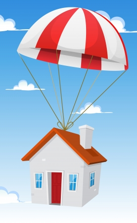 Illustration of a cartoon small house delivery by parachute air shipping, with cloudscape and blue sky background Stock Vector - 19501963