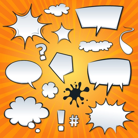 speech marks: Illustration of a set of cartoon comic speech bubbles and design elements, question marks, clouds and splashes