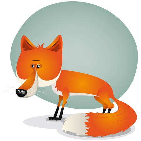 sly: Illustration of a cartoon cute red and orange haired fox character with beautiful long tail