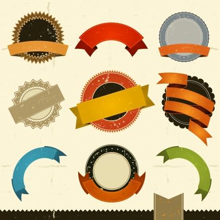 tan: Ilustraci�n de un conjunto de banners grunge dise�o vintage, etiquetas, Stamper sello y premios escudos. Todos los elementos est�n en capas separadas para que pueda seleccionar y editar f�cilmente Vectores