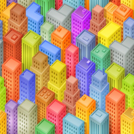 Illustration of a seamless funny cartoon squared big city background with several isometric buildings Vector