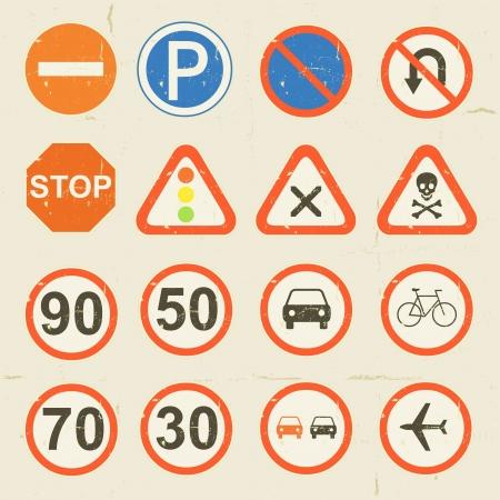 road ring: Illustration of a set of grunge retro vintage road signs and traffic symbols set Illustration