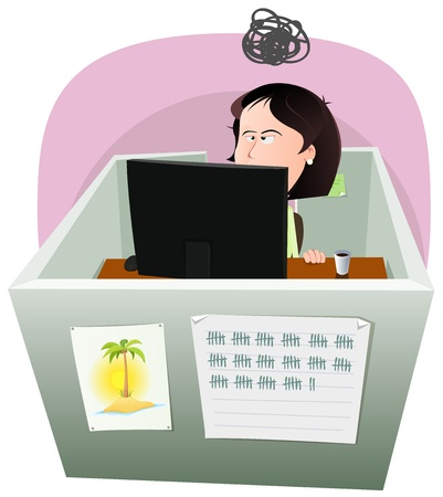 Illustration of a cartoon office employee woman lifestyle, working frustrated in a boring job in slump time and inside small confined open space cube setting Illustration