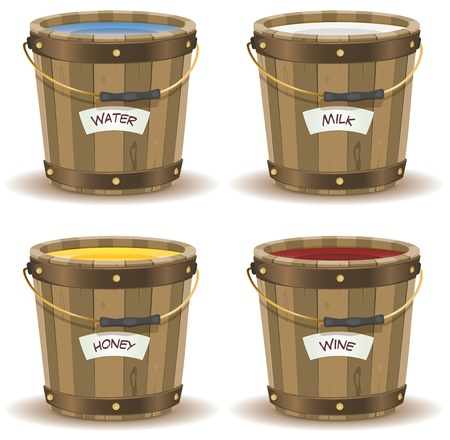 Illustration of a set of cartoon wooden bucket with handle and gold metal strapping, containing various liquid beverage, water, milk,wine, and honey with their respective label banner Vector