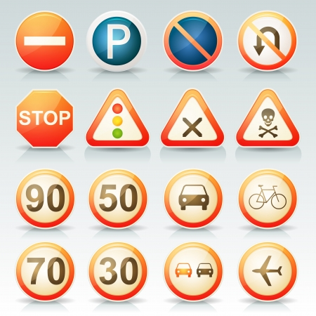 traffic pole: Illustration of a set of glossy and vintage french road signs with transportation and traffic symbols set
