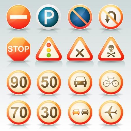 traffic signal: Ilustraci�n de un conjunto de se�ales de tr�fico franc�s brillantes y de la vendimia con el transporte y los s�mbolos de tr�fico establecidos