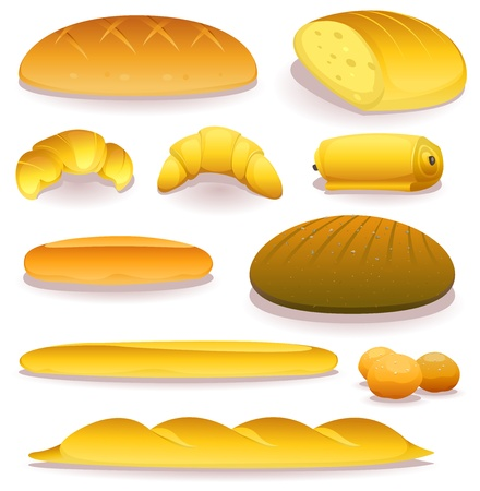 toasted bread: Illustration of a set of various bread, bakery and pastry food icons products and ingredients