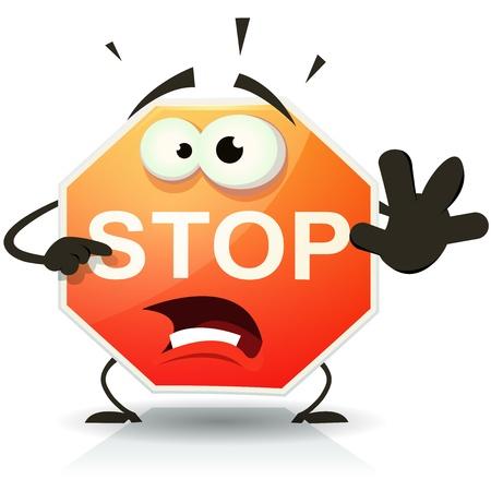 Illustratie van een grappige cartoon stop verkeersbord teken doen gevaar en waarschuwing gebaar