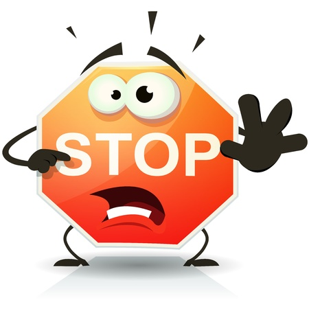 signal stop: Illustration of a funny cartoon stop traffic sign character doing danger and warning gesture