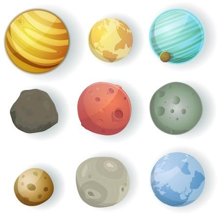 Illustration d'un ensemble de différentes planètes, lunes, astéroïdes et les globes de terre isolé sur blanc pour scifi milieux