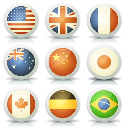 Illustration of a set of glossy flags icons set with most major nations and countries, USA, France, Canada, Australia, United Kingdom, China, Japan, Brazil and Germany Vector