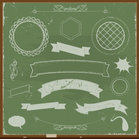 Illustration of a set of grunge banners, ribbons and design elements on chalkboard background Illustration