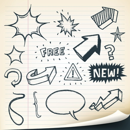 Illustration of a group of outlined hand drawn sketched elements, arrows, signs, speech bubbles, stars and retail text or messages Stock Vector - 20046849