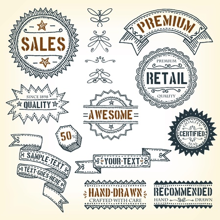 Illustration of a set of doodles hand drawn design vintage banners, labels, seal stamper, ribbons and awards Vector
