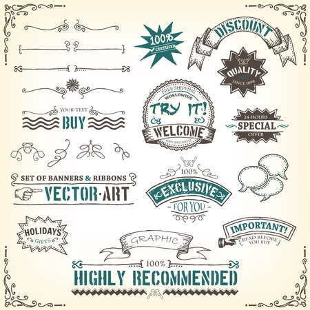 Illustration of a set of sketched doodles hand drawn design vintage banners, labels, seal stamper, ribbons and awards Illusztráció