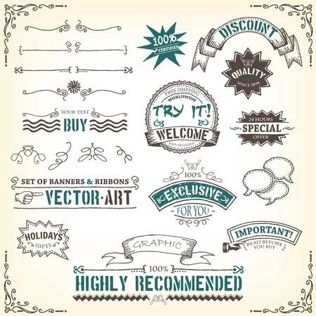 vintage: Ilustração de um conjunto de rabiscos desenhados mão do projeto do vintage banners, etiquetas, Carimbo selo, fitas e prêmios esboçados