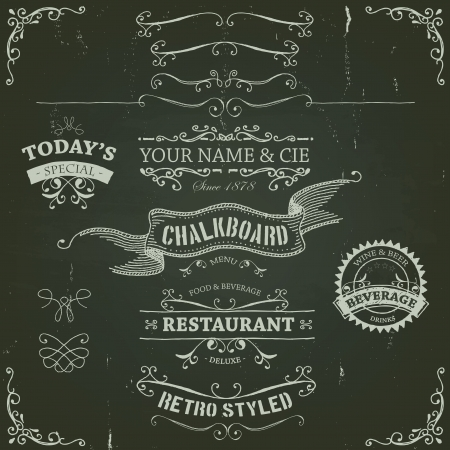 ornament menu: Illustration of a set of hand drawn sketched banners, ribbons for food, restaurant and beverage design elements on chalkboard background