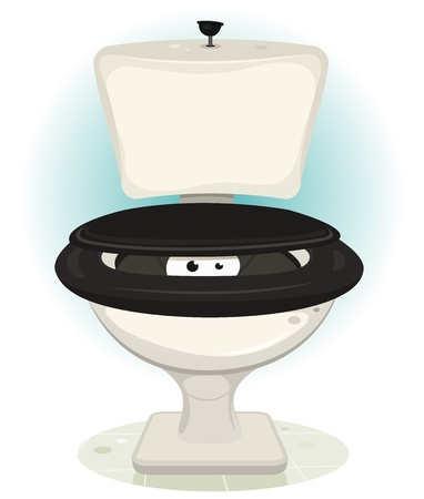 poop: Illustration of a funny cartoon animal or monster characters eyes looking from inside open water closet Illustration