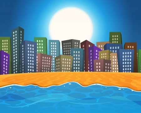 Illustration of a cartoon summer season ocean beach in front of colorful cityscape buildings for vacations Stock Vector - 20298961