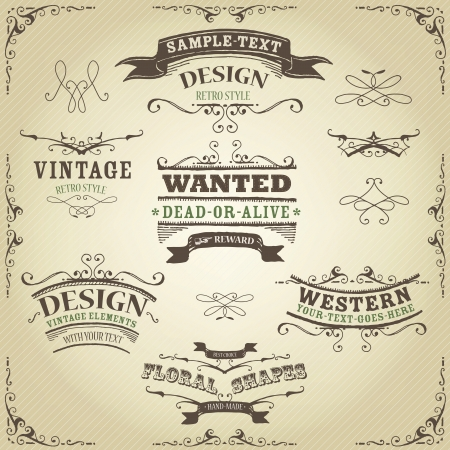 Illustration of a set of hand drawn western like sketched banners, ribbons, and far west design elements on vintage striped background Illustration