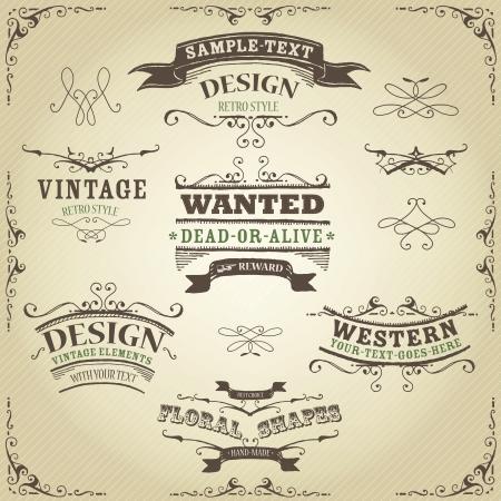 Ilustración de un conjunto de dibujado a mano occidental como banderas dibujadas, cintas y elementos de diseño far west en el fondo rayado de la vendimia