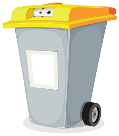 hideout: Illustration of a funny cartoon recyclable trash bin character with eyes looking from inside and yellow top, blank signs for ad message