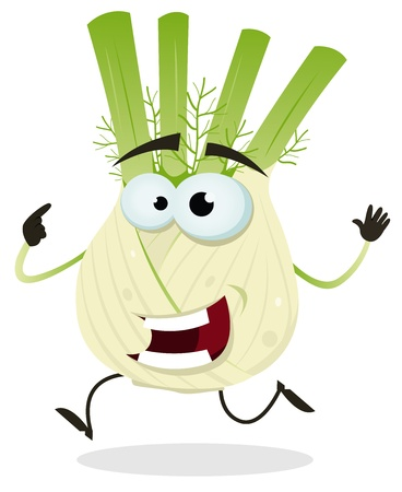 hurried: Illustration of a funny happy cartoon fennel vegetable character running Illustration
