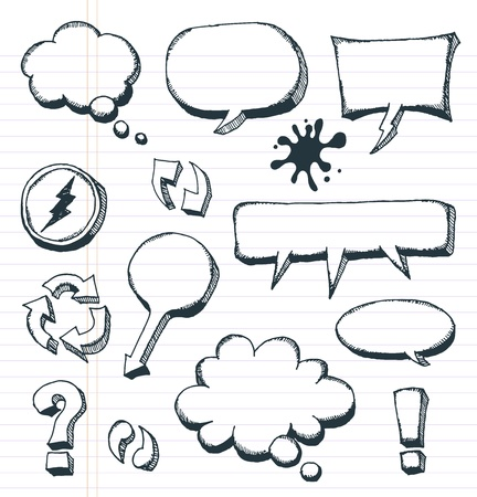 Illustration of a group of outlined hand drawn sketched elements, arrows, signs and speech bubbles, on school paper with red and blue stripes Stock Vector - 20299086