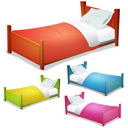Illustration of a set of cartoon wood children beds for boys and girls with pillows and cover