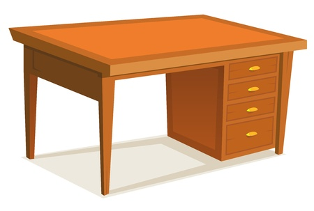Illustration of wooden office desk furniture with drawer, isolated on white background Vector