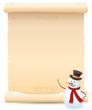 Illustration of a snowman showing parchment sign for your advertisement Stock Vector - 20453775