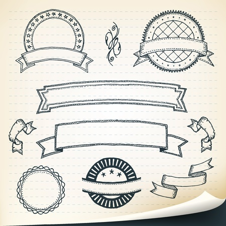 Illustration of a set of hand drawn sketched banners, ribbons and design elements on vintage retro school paper background with dashed lines
