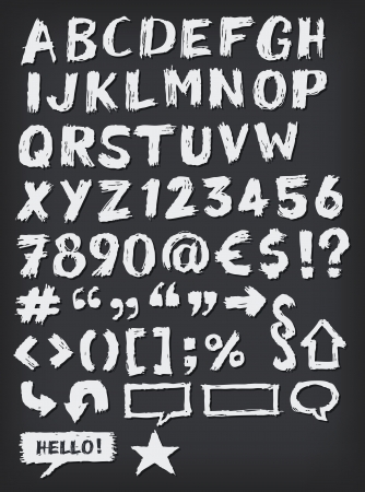 alphabet kids: Illustration of a complete set of hand drawn sketched and doodled ABC letters and font also containing dollar, euro currency symbols and special characters on school chalkboard background Illustration