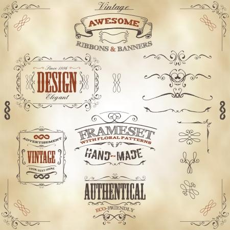 Illustration d'un ensemble de cadres dessinés à la main, bannières esquissés, motifs floraux, des rubans et des éléments de conception graphique sur le cuir vintage ou vieux fond de papier Vecteurs