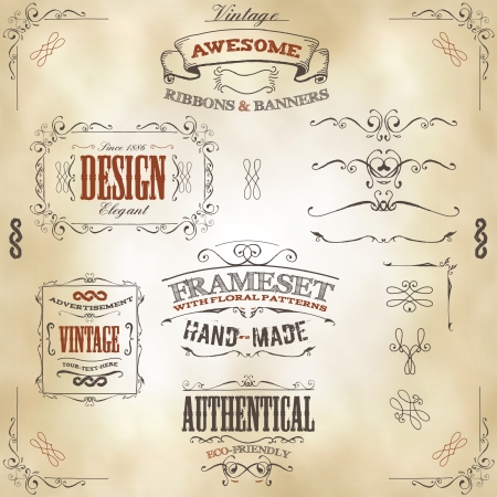 Illustration of a set of hand drawn frames, sketched banners, floral patterns, ribbons, and graphic design elements on vintage leather or old paper background