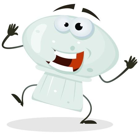 Illustration of a funny happy cartoon mushroom vegetable character dancing